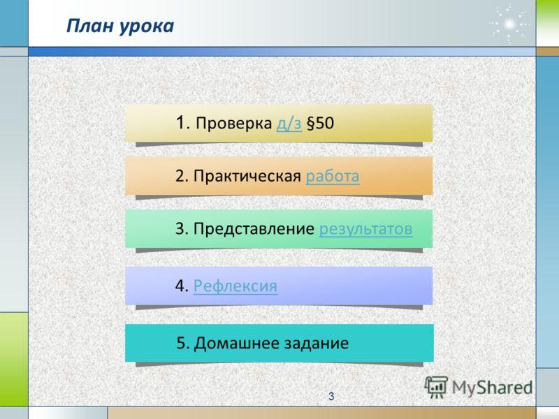 3. Представление результатоврезультатов 2. Практическая работаработа 1. Проверка д/з §50д/з 4. РефлексияРефлексия План урока 5. Домашнее задание 3
