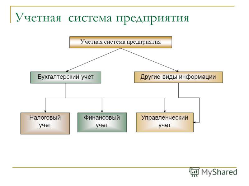 Учетная система предприятия Бухгалтерский учетДругие виды информации Налоговый учет Финансовый учет Управленческий учет