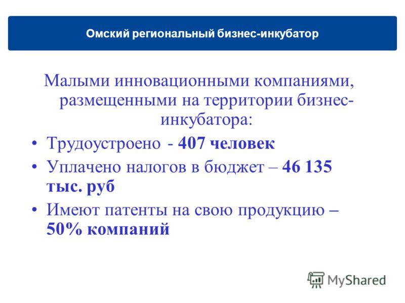Малыми инновационными компаниями, размещенными на территории бизнес- инкубатора: Трудоустроено - 407 человек Уплачено налогов в бюджет – 46 135 тыс. руб Имеют патенты на свою продукцию – 50% компаний Омский региональный бизнес-инкубатор