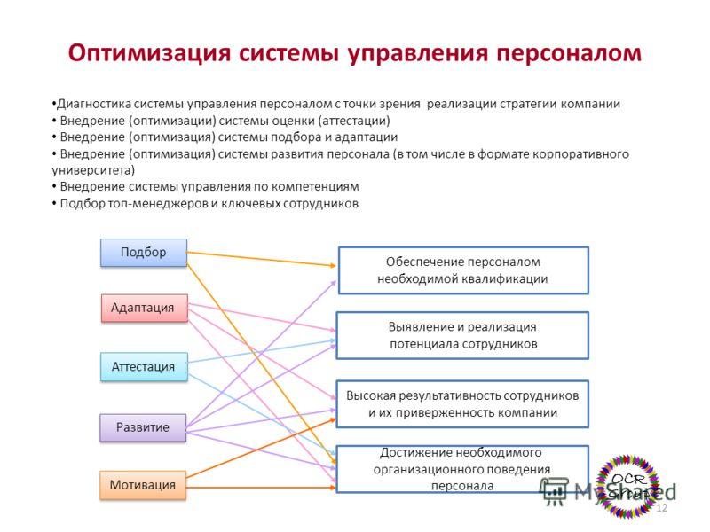 Оптимизация системы управления персоналом Диагностика системы управления персоналом с точки зрения реализации стратегии компании Внедрение (оптимизации) системы оценки (аттестации) Внедрение (оптимизация) системы подбора и адаптации Внедрение (оптими