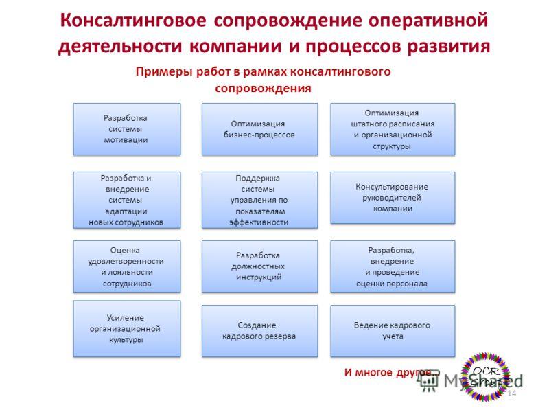 Консалтинговое сопровождение оперативной деятельности компании и процессов развития 14 Оптимизация бизнес-процессов Оптимизация бизнес-процессов Разработка должностных инструкций Разработка должностных инструкций Разработка системы мотивации Разработ