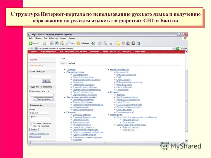 11 Структура Интернет-портала по использованию русского языка и получению образования на русском языке в государствах СНГ и Балтии