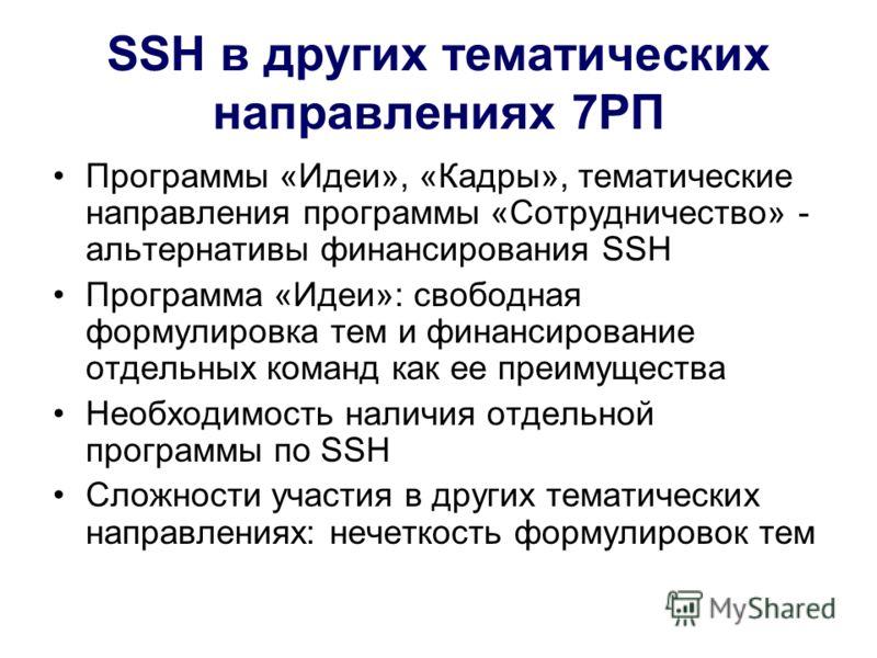 SSH в других тематических направлениях 7РП Программы «Идеи», «Кадры», тематические направления программы «Сотрудничество» - альтернативы финансирования SSH Программа «Идеи»: свободная формулировка тем и финансирование отдельных команд как ее преимуще