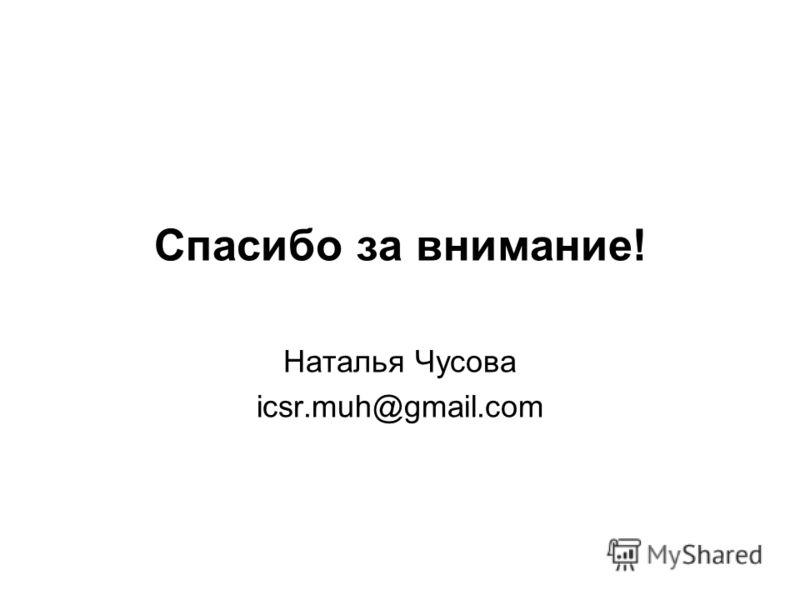 Спасибо за внимание! Наталья Чусова icsr.muh@gmail.com