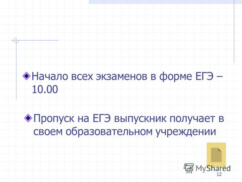 12 Пропуск на ЕГЭ выпускник получает в своем образовательном учреждении Начало всех экзаменов в форме ЕГЭ – 10.00