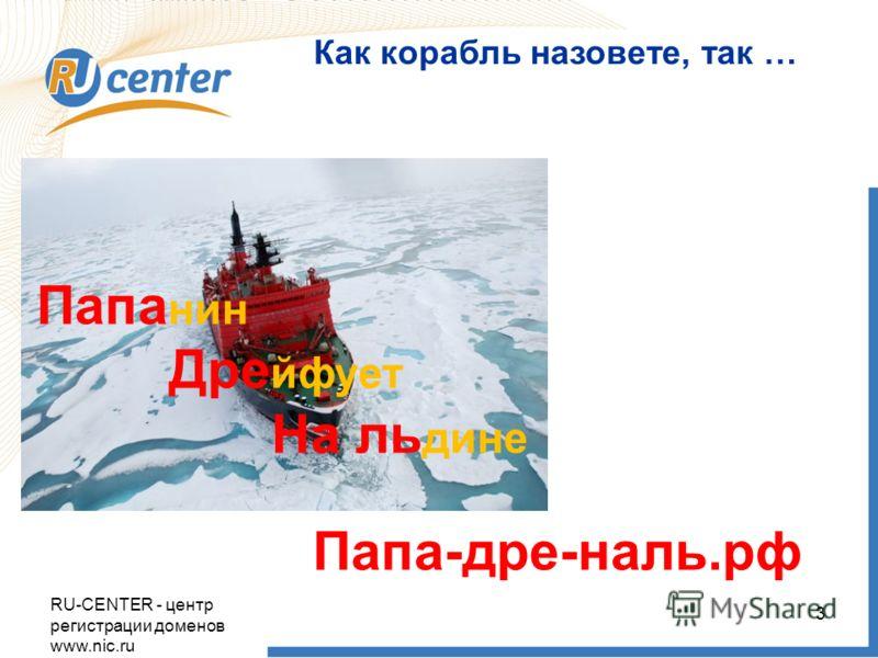 RU-CENTER - центр регистрации доменов www.nic.ru 3 Как корабль назовете, так … Папа нин Дре йфует На ль дине Папа-дре-наль.рф