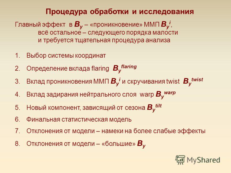 Процедура обработки и исследования Главный эффект в B y – «проникновение» ММП B y i, всё остальное – следующего порядка малости и требуется тщательная процедура анализа 1.Выбор системы координат 2.Определение вклада flaring B y flaring 3.Вклад проник