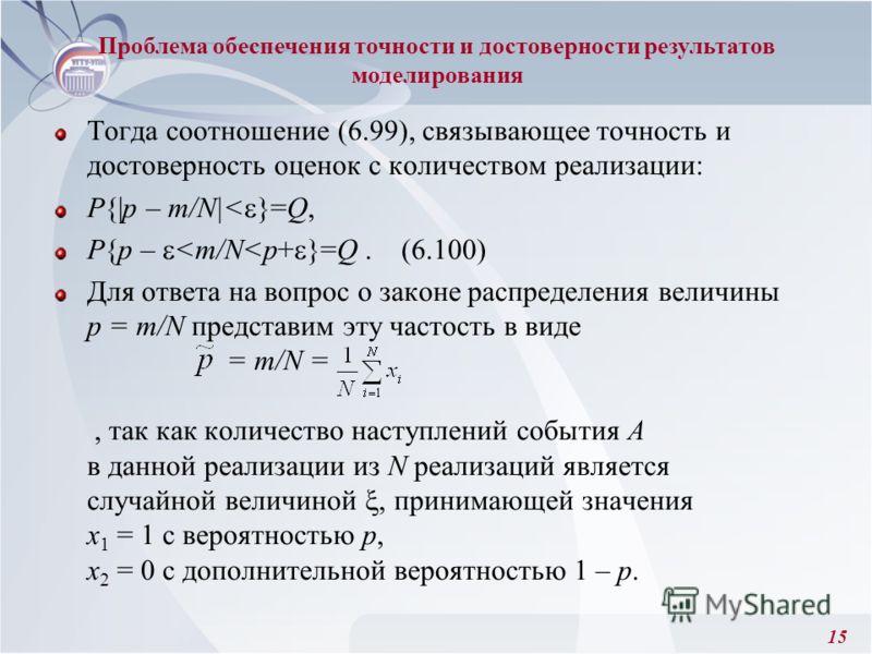 15 Тогда соотношение (6.99), связывающее точность и достоверность оценок с количеством реализации: Р{|p – m/N|< }=Q, P{p –