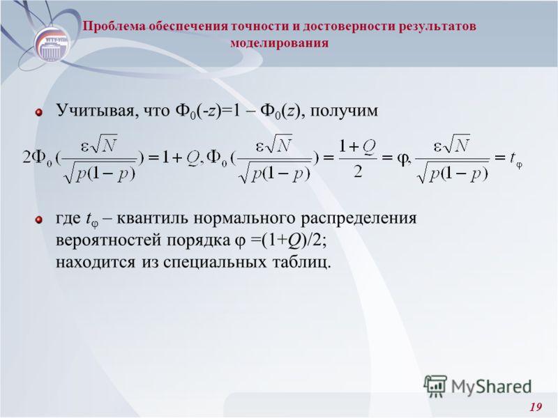 19 Проблема обеспечения точности и достоверности результатов моделирования Учитывая, что Ф 0 (-z)=1 – Ф 0 (z), получим где t – квантиль нормального распределения вероятностей порядка =(1+Q)/2; находится из специальных таблиц.