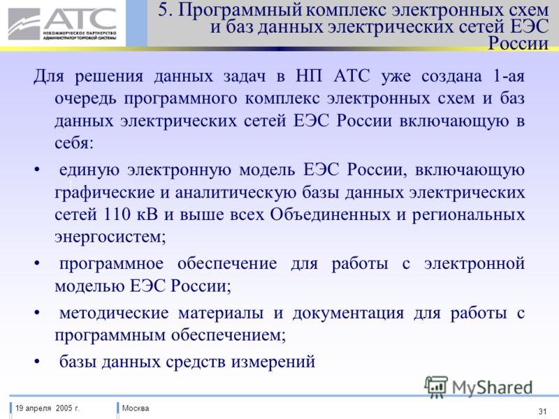 19 апреля 2005 г.Москва 31 5. Программный комплекс электронных схем и баз данных электрических сетей ЕЭС России Для решения данных задач в НП АТС уже создана 1-ая очередь программного комплекс электронных схем и баз данных электрических сетей ЕЭС Рос