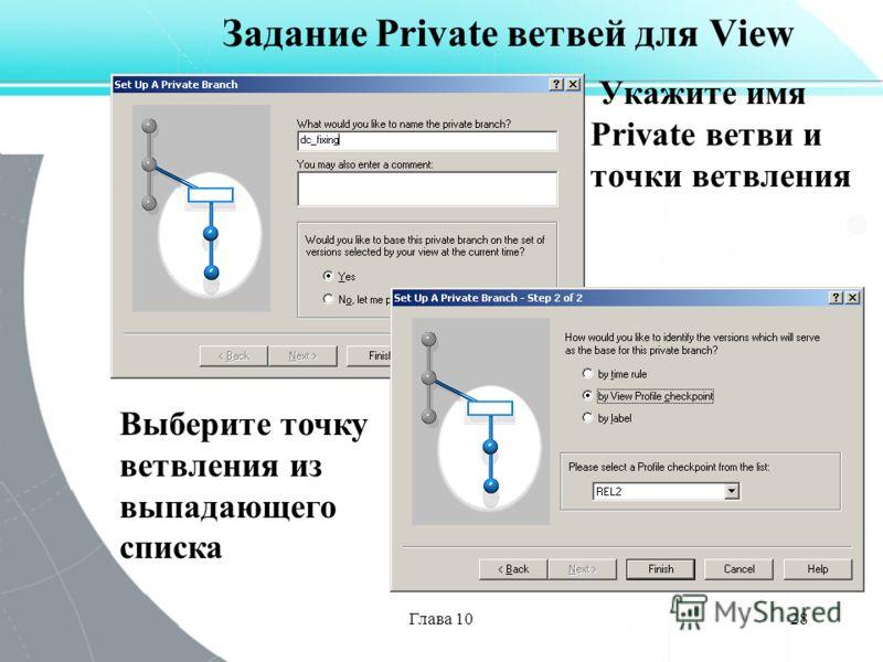 Глава 1028 Задание Private ветвей для View Укажите имя Private ветви и точки ветвления Выберите точку ветвления из выпадающего списка