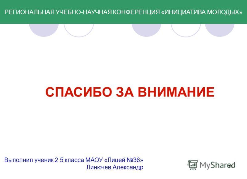 14 СПАСИБО ЗА ВНИМАНИЕ Выполнил ученик 2.5 класса МАОУ «Лицей 36» Линючев Александр РЕГИОНАЛЬНАЯ УЧЕБНО-НАУЧНАЯ КОНФЕРЕНЦИЯ «ИНИЦИАТИВА МОЛОДЫХ»