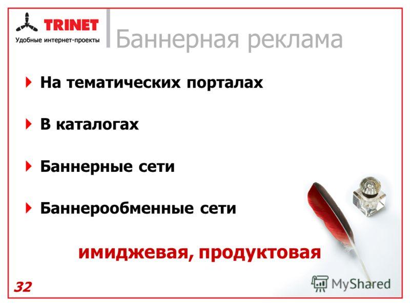 32 Баннерная реклама На тематических порталах В каталогах Баннерные сети Баннерообменные сети имиджевая, продуктовая