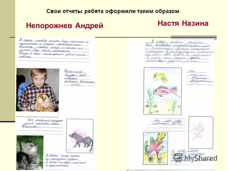 Непорожнев Андрей Настя Назина Свои отчеты ребята оформили таким образом.