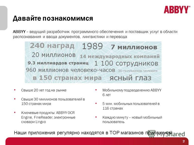 Давайте познакомимся ABBYY – ведущий разработчик программного обеспечения и поставщик услуг в области распознавания и ввода документов, лингвистики и перевода Свыше 20 лет год на рынке Свыше 30 миллионов пользователей в 150 странах мира Ключевые прод