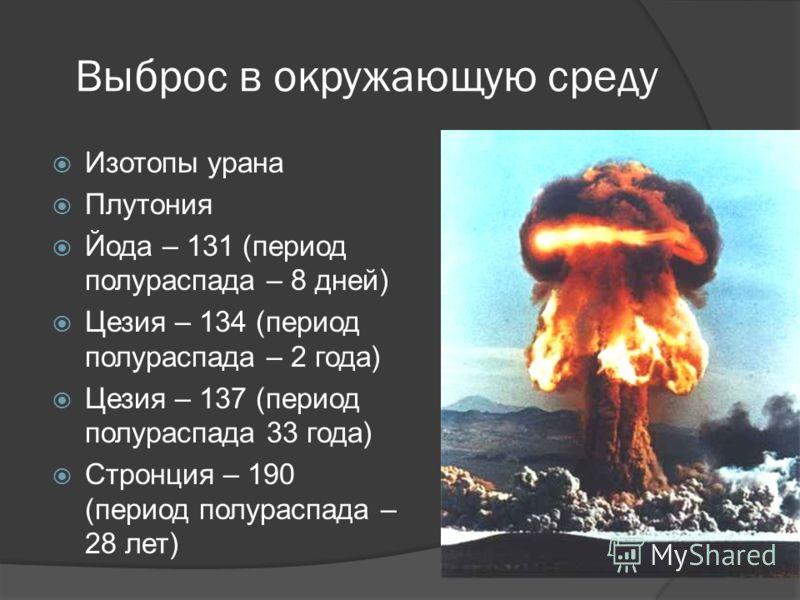 Выброс в окружающую среду Изотопы урана Плутония Йода – 131 (период полураспада – 8 дней) Цезия – 134 (период полураспада – 2 года) Цезия – 137 (период полураспада 33 года) Стронция – 190 (период полураспада – 28 лет)