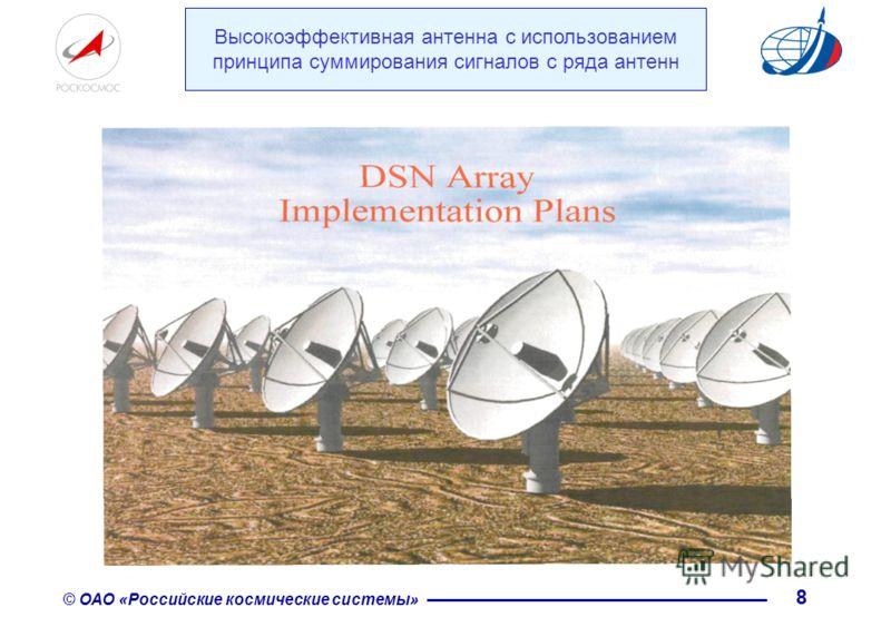 © ОАО «Российские космические системы» 8 Высокоэффективная антенна с использованием принципа суммирования сигналов с ряда антенн