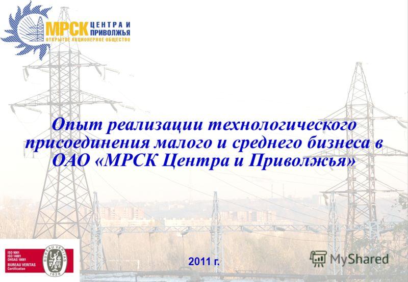 1 Опыт реализации технологического присоединения малого и среднего бизнеса в ОАО «МРСК Центра и Приволжья» 2011 г.