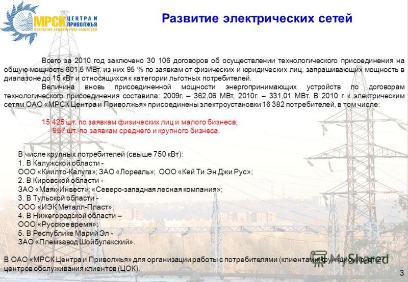 3 Развитие электрических сетей В числе крупных потребителей (свыше 750 кВт): 1. В Калужской области - ООО «Киилто-Калуга»; ЗАО «Лореаль»; ООО «Кей Ти Эн Джи Рус»; 2. В Кировской области - ЗАО «Маяк-Инвест»; «Северо-западная лесная компания»; 3. В Тул