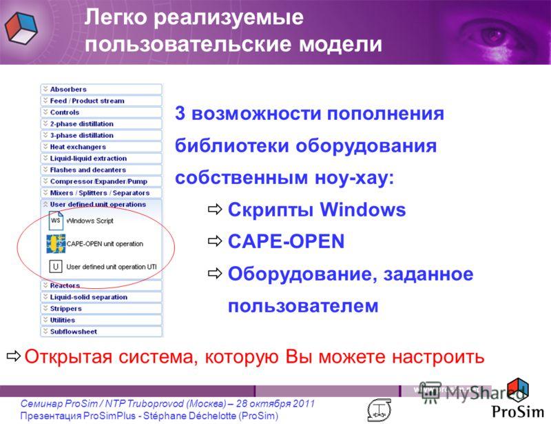 www.prosim.net Семинар ProSim / NTP Truboprovod (Москва) – 28 октября 2011 Презентация ProSimPlus - Stéphane Déchelotte (ProSim) Легко реализуемые пользовательские модели Открытая система, которую Вы можете настроить 3 возможности пополнения библиоте
