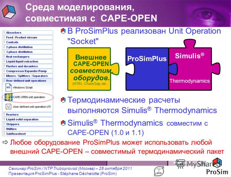 www.prosim.net Семинар ProSim / NTP Truboprovod (Москва) – 28 октября 2011 Презентация ProSimPlus - Stéphane Déchelotte (ProSim) В ProSimPlus реализован Unit Operation