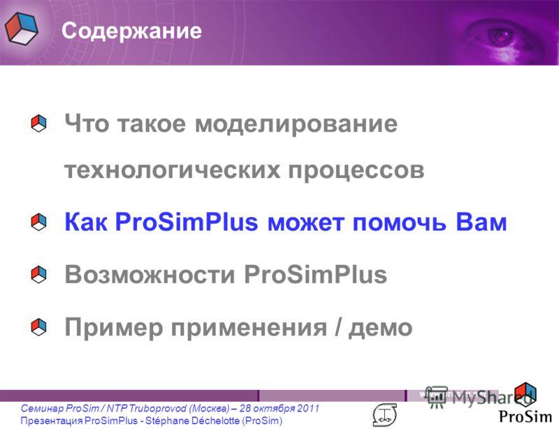 www.prosim.net Семинар ProSim / NTP Truboprovod (Москва) – 28 октября 2011 Презентация ProSimPlus - Stéphane Déchelotte (ProSim) Что такое моделирование технологических процессов Как ProSimPlus может помочь Вам Возможности ProSimPlus Пример применени