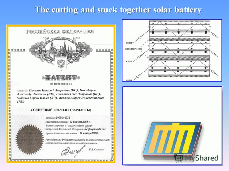 The cutting and stuck together solar battery