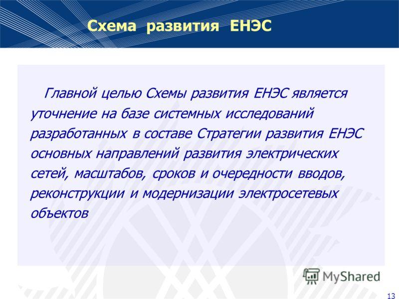 13 Схема развития ЕНЭС Главной целью Схемы развития ЕНЭС является уточнение на базе системных исследований разработанных в составе Стратегии развития ЕНЭС основных направлений развития электрических сетей, масштабов, сроков и очередности вводов, реко