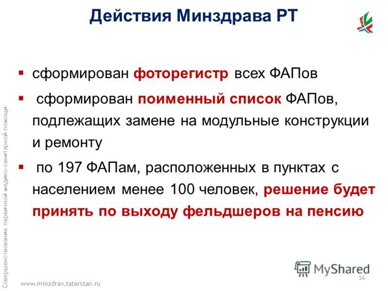 www.minzdrav.tatarstan.ru Совершенствование первичной медико-санитарной помощи сформирован фоторегистр всех ФАПов сформирован поименный список ФАПов, подлежащих замене на модульные конструкции и ремонту по 197 ФАПам, расположенных в пунктах с населен