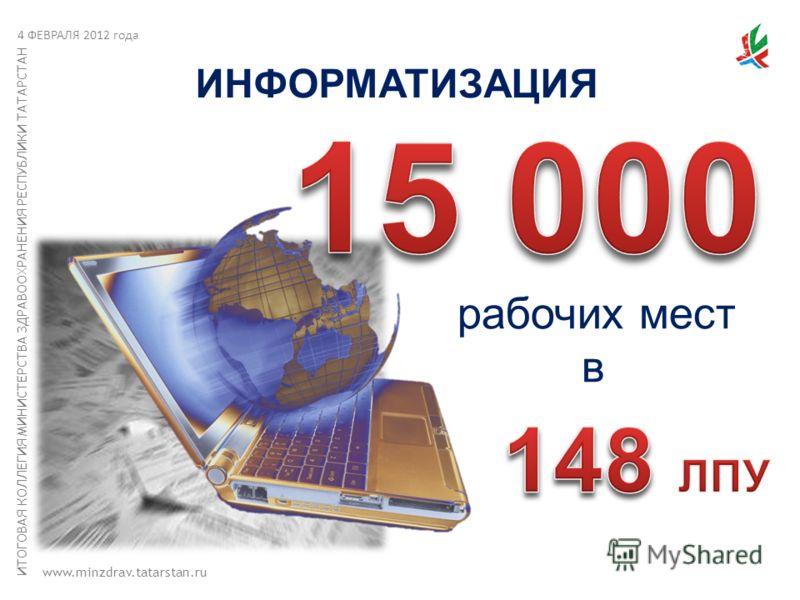 ИТОГОВАЯ КОЛЛЕГИЯ МИНИСТЕРСТВА ЗДРАВООХРАНЕНИЯ РЕСПУБЛИКИ ТАТАРСТАН www.minzdrav.tatarstan.ru ИНФОРМАТИЗАЦИЯ рабочих мест в 4 ФЕВРАЛЯ 2012 года