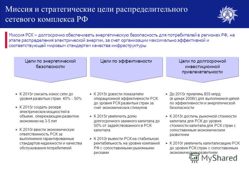 Миссия и стратегические цели распределительного сетевого комплекса РФ Миссия РСК – долгосрочно обеспечивать энергетическую безопасность для потребителей в регионах РФ, на этапе распределения электрической энергии, за счет организации максимально эффе