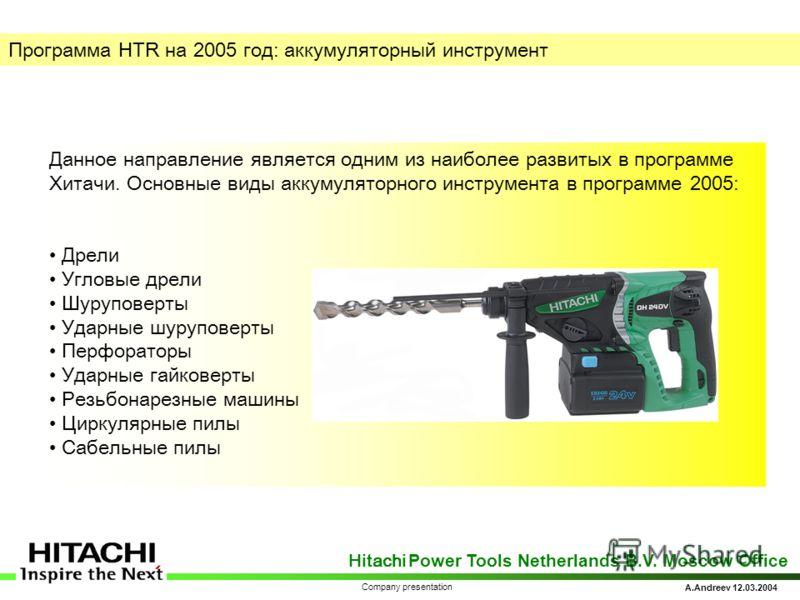 Hitachi Power Tools Netherlands B.V. Moscow Office A.Andreev 12.03.2004 Company presentation Программа HTR на 200 5 год: аккумуляторный инструмент Данное направление является одним из наиболее развитых в программе Хитачи. Основные виды аккумуляторног