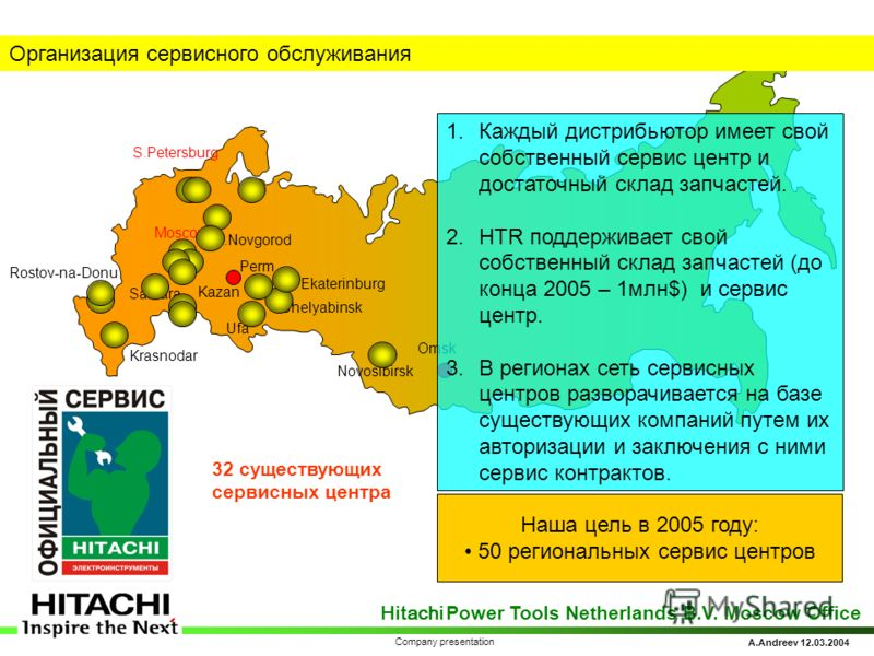 Hitachi Power Tools Netherlands B.V. Moscow Office A.Andreev 12.03.2004 Company presentation Rostov-na-Donu Moscow S.Petersburg Ekaterinburg Ufa Samara N.Novgorod Kazan Novosibirsk Chelyabinsk Perm Omsk Krasnodar Организация сервисного обслуживания Н