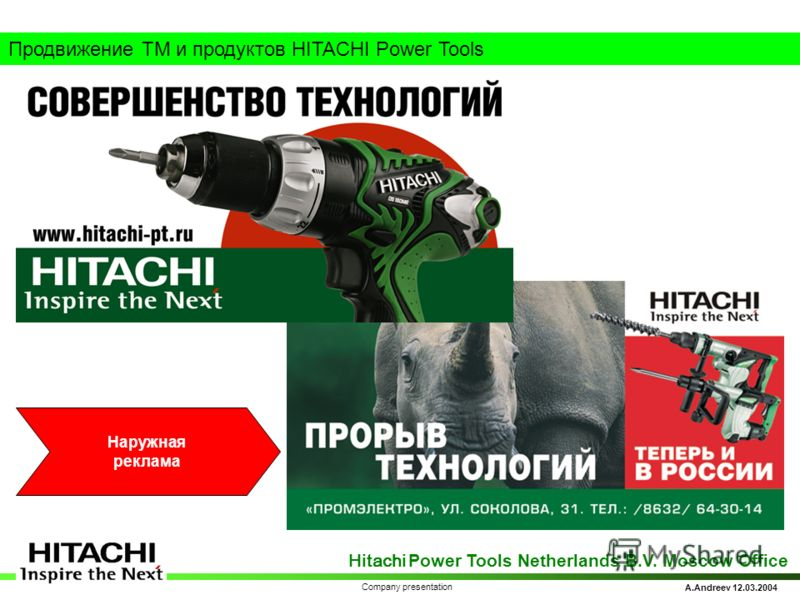 Hitachi Power Tools Netherlands B.V. Moscow Office A.Andreev 12.03.2004 Company presentation Продвижение ТМ и продуктов HITACHI Power Tools Наружная реклама