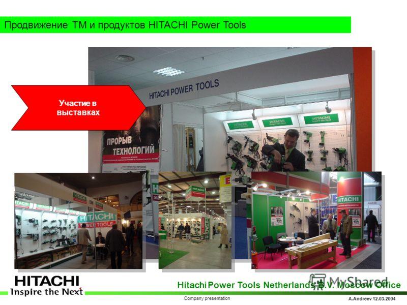 Hitachi Power Tools Netherlands B.V. Moscow Office A.Andreev 12.03.2004 Company presentation Продвижение ТМ и продуктов HITACHI Power Tools Участие в выставках