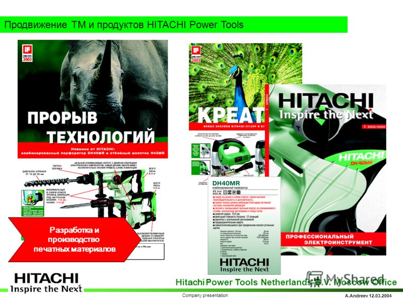 Hitachi Power Tools Netherlands B.V. Moscow Office A.Andreev 12.03.2004 Company presentation Продвижение ТМ и продуктов HITACHI Power Tools Разработка и производство печатных материалов