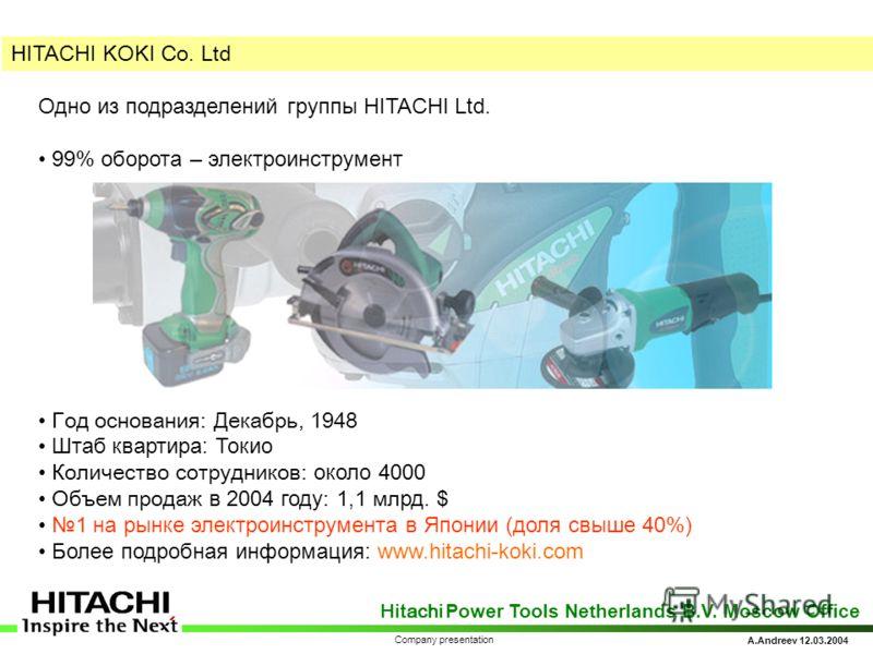 Hitachi Power Tools Netherlands B.V. Moscow Office A.Andreev 12.03.2004 Company presentation H ITACHI KOKI Co. Ltd Одно из подразделений группы HITACHI Ltd. 99% оборота – электроинструмент Год основания: Декабрь, 1948 Штаб квартира: Токио Количество