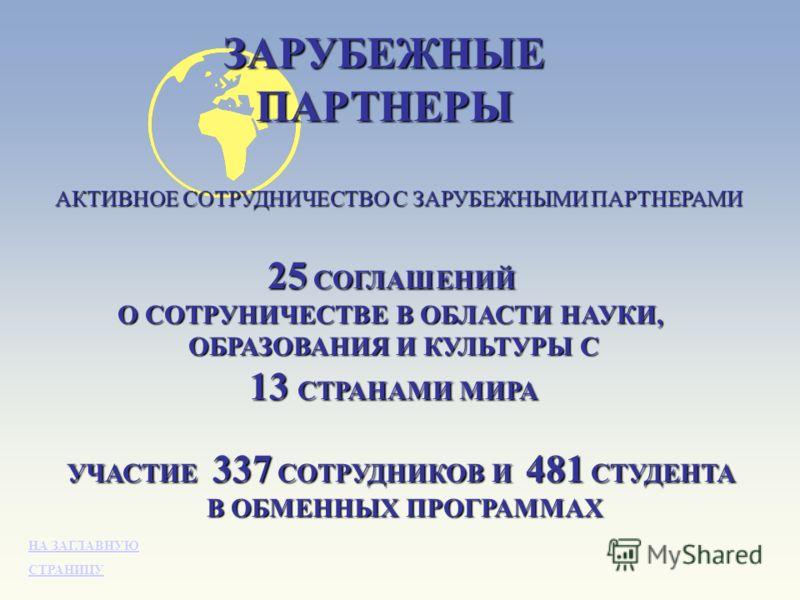ЗАРУБЕЖНЫЕПАРТНЕРЫ АКТИВНОЕ СОТРУДНИЧЕСТВО С ЗАРУБЕЖНЫМИ ПАРТНЕРАМИ 25 СОГЛАШЕНИЙ О СОТРУНИЧЕСТВЕ В ОБЛАСТИ НАУКИ, ОБРАЗОВАНИЯ И КУЛЬТУРЫ С 13 СТРАНАМИ МИРА УЧАСТИЕ 337 СОТРУДНИКОВ И 481 СТУДЕНТА В ОБМЕННЫХ ПРОГРАММАХ НА ЗАГЛАВНУЮ НА ЗАГЛАВНУЮ СТРАНИ