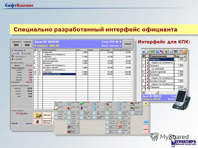 Специально разработанный интерфейс официанта Интерфейс для КПК:
