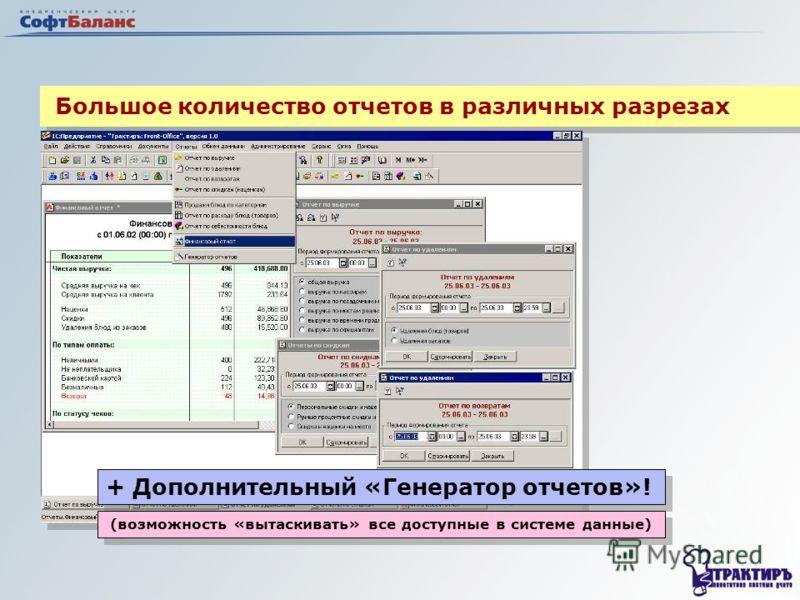 Большое количество отчетов в различных разрезах + Дополнительный «Генератор отчетов»! (возможность «вытаскивать» все доступные в системе данные)