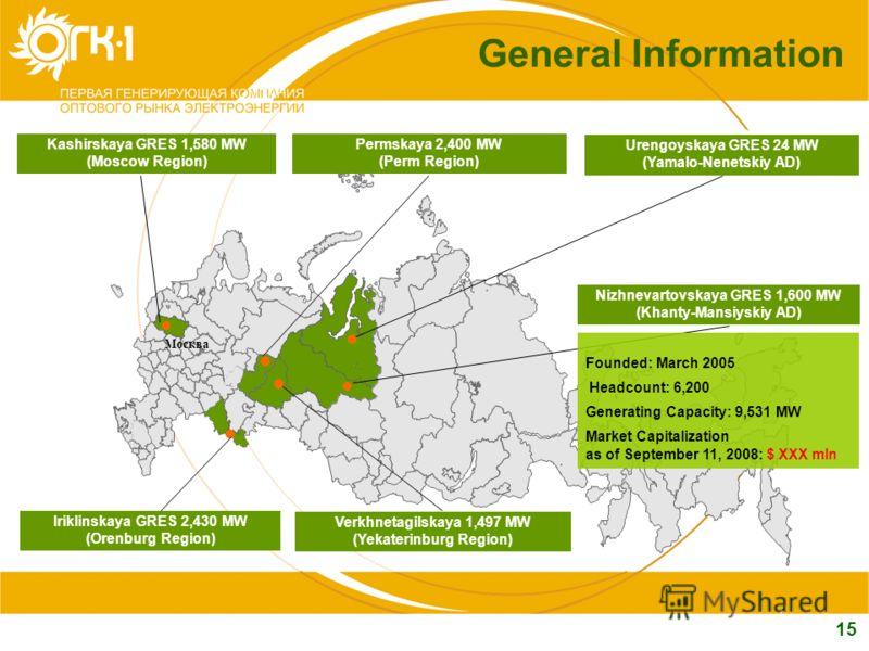 15 General Information Permskaya 2,400 MW (Perm Region) Kashirskaya GRES 1,580 MW (Moscow Region) Москва Urengoyskaya GRES 24 MW (Yamalo-Nenetskiy AD) Nizhnevartovskaya GRES 1,600 MW (Khanty-Mansiyskiy AD) Iriklinskaya GRES 2,430 MW (Orenburg Region)