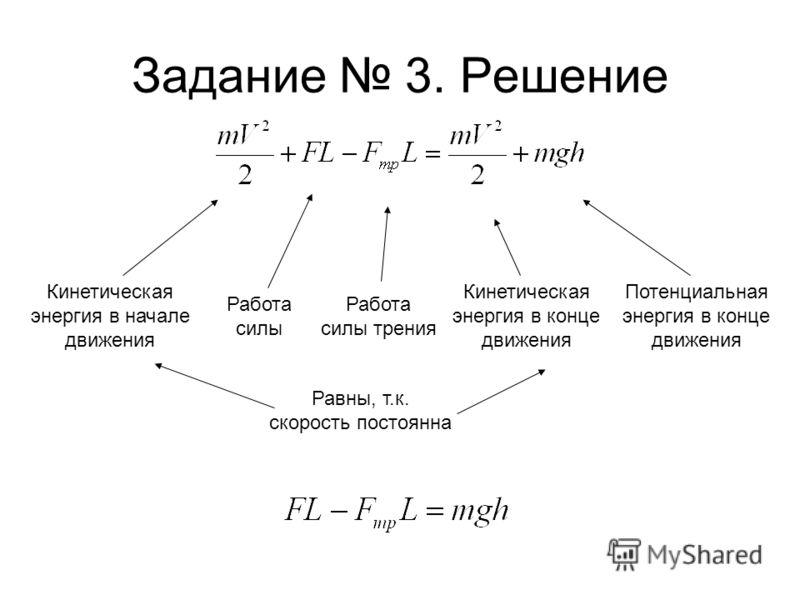Задание 3. Решение Кинетическая энергия в начале движения Кинетическая энергия в конце движения Потенциальная энергия в конце движения Работа силы Работа силы трения Равны, т.к. скорость постоянна