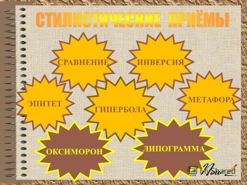 ЭПИТЕТ МЕТАФОРА ИНВЕРСИЯСРАВНЕНИЕ ГИПЕРБОЛА ЛИПОГРАММА ОКСИМОРОН