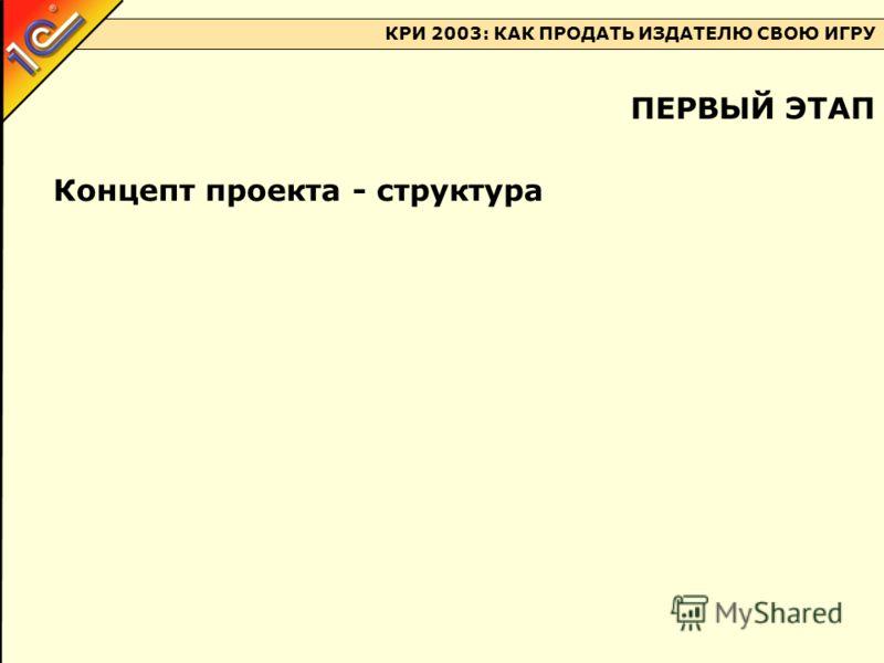 КРИ 2003: КАК ПРОДАТЬ ИЗДАТЕЛЮ СВОЮ ИГРУ Концепт проекта - структура ПЕРВЫЙ ЭТАП