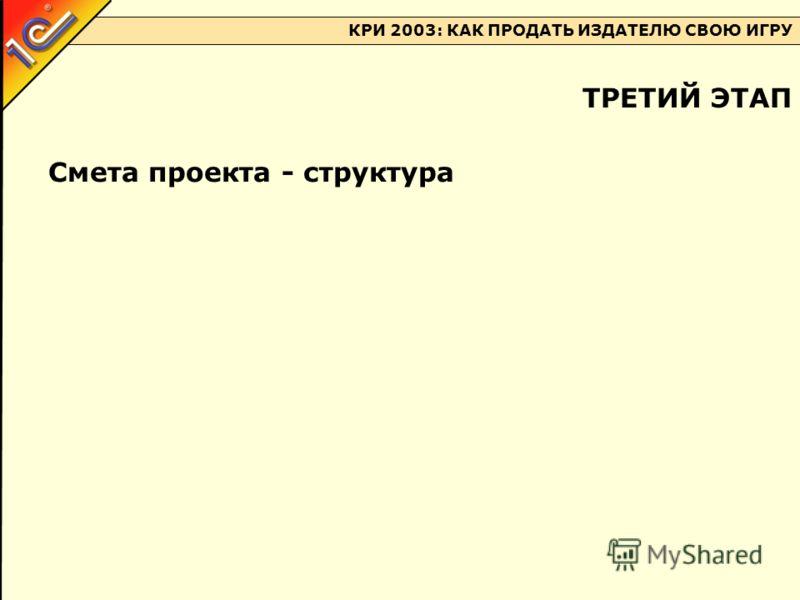 КРИ 2003: КАК ПРОДАТЬ ИЗДАТЕЛЮ СВОЮ ИГРУ Смета проекта - структура ТРЕТИЙ ЭТАП