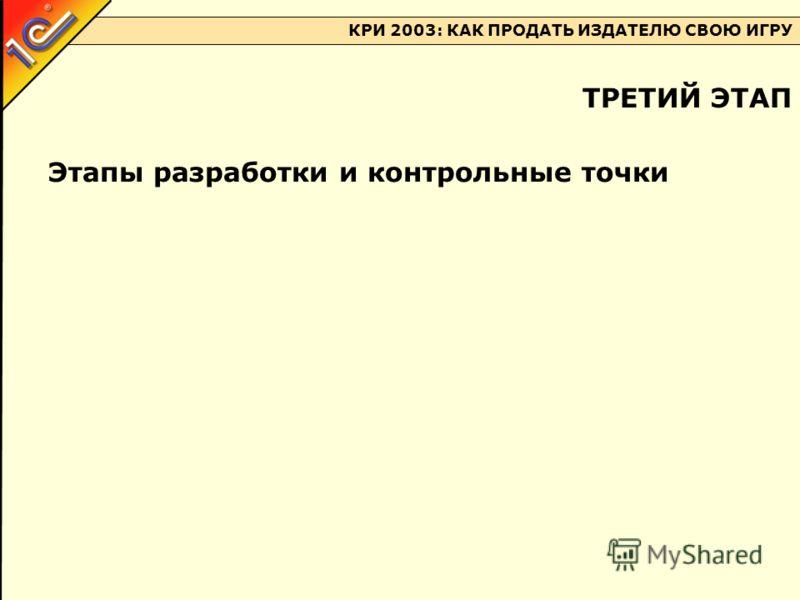 КРИ 2003: КАК ПРОДАТЬ ИЗДАТЕЛЮ СВОЮ ИГРУ Этапы разработки и контрольные точки ТРЕТИЙ ЭТАП