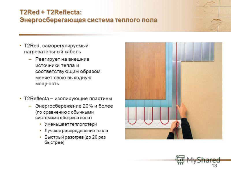 13 T2Red + T2Reflecta: Энергосберегающая система теплого пола T2Red, саморегулируемый нагревательный кабель –Реагирует на внешние источники тепла и соответствующим образом меняет свою выходную мощность T2Reflecta – изолирующие пластины –Энергосбереже