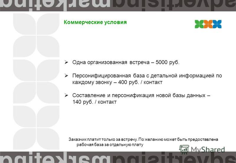 Коммерческие условия Одна организованная встреча – 5000 руб. Персонифицированная база с детальной информацией по каждому звонку – 400 руб. / контакт Составление и персонификация новой базы данных – 140 руб. / контакт Заказчик платит только за встречу