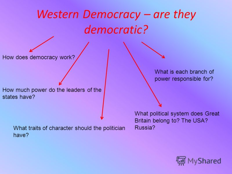 Western Democracy – are they democratic? How does democracy work? How much power do the leaders of the states have? What political system does Great Britain belong to? The USA? Russia? What is each branch of power responsible for? What traits of char