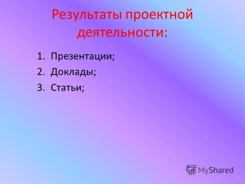 Результаты проектной деятельности: 1.Презентации; 2.Доклады; 3.Статьи;